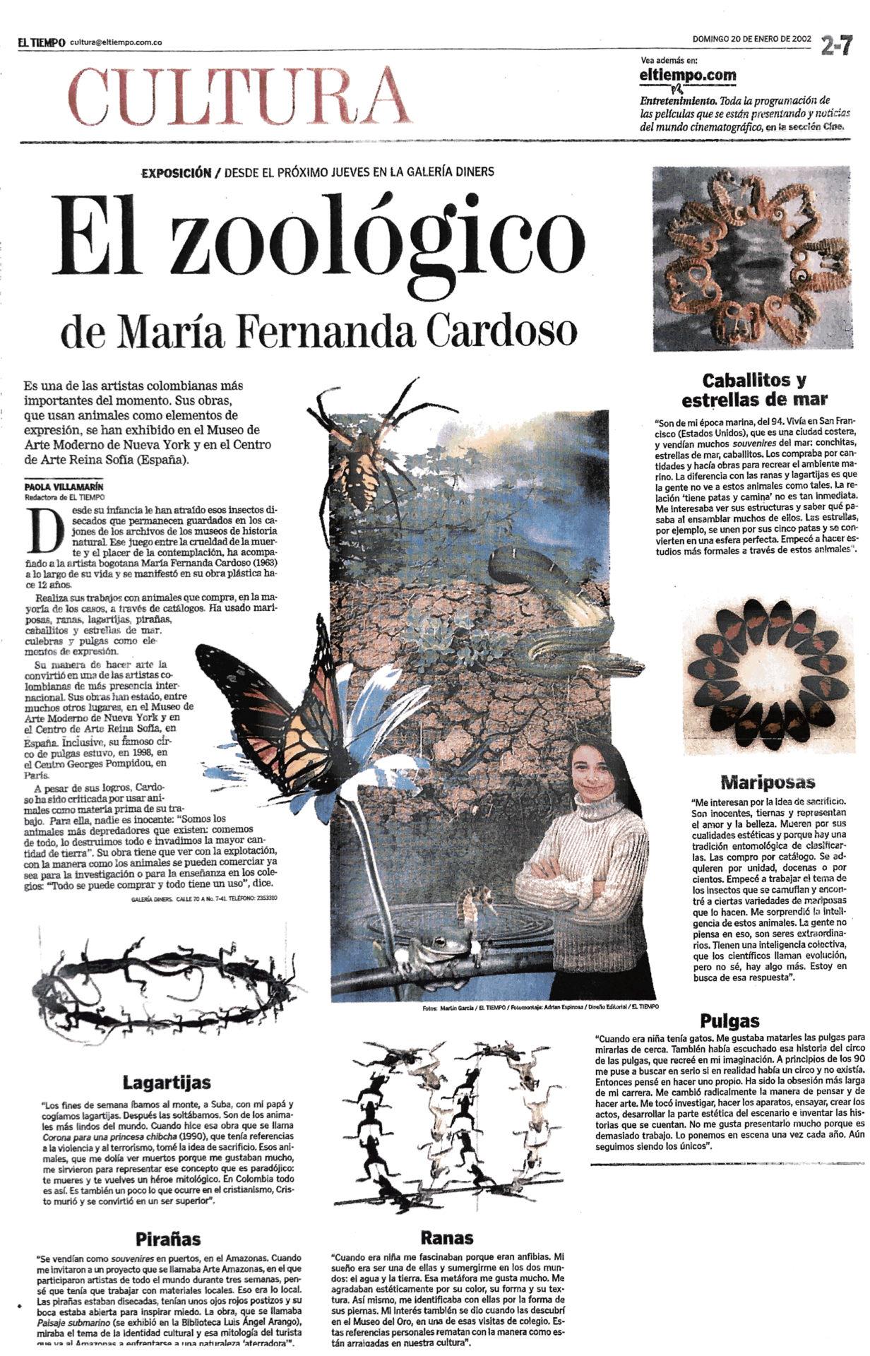 EL TIEMPO. (2002). El zoológico de María Fernanda Cardoso. Periódico El Tiempo. Domingo 20 de enero, 2002.