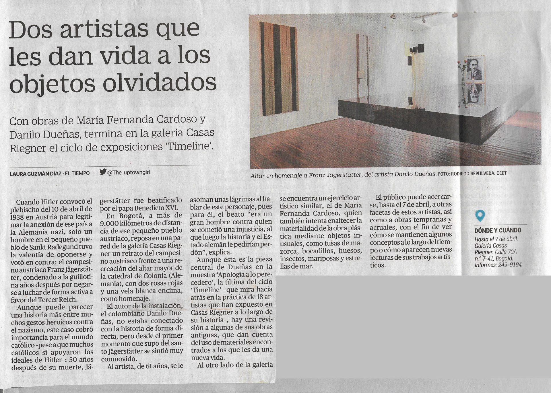 """EL TIEMPO. (2018). """"Dos artistas que le dan vida a los objetos olvidados"""". Periódico El Tiempo. Lunes 26 de febrero, 2018."""