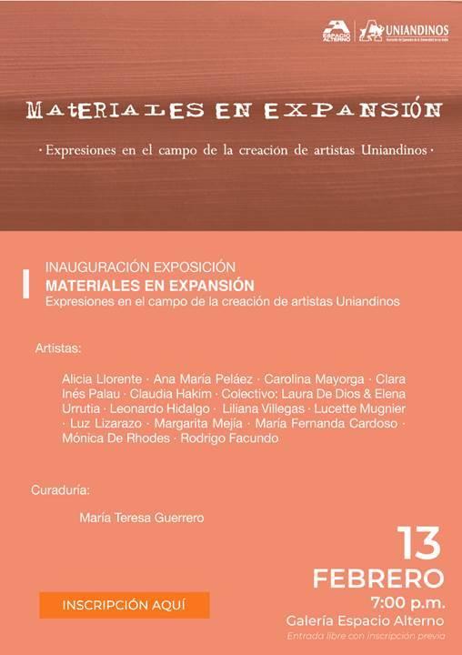 2019_Materiales en Expansión. Galería Espacio Alterno. Bogotá, Colomba