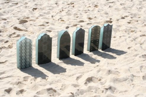 TOMBSTONES AT SCULPTURE BY THE SEA, SYDNEY