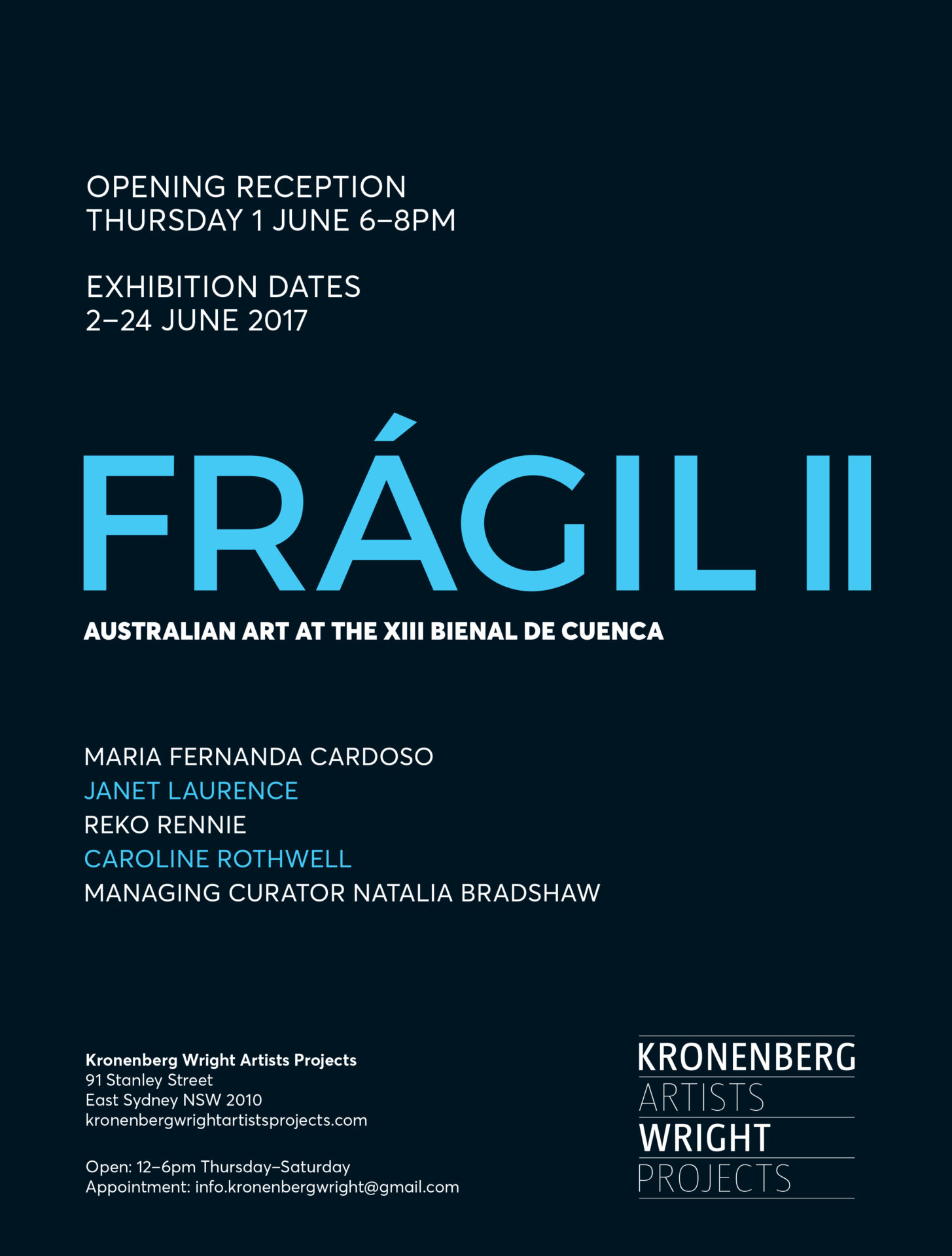 2016-2017_Fragil II. Kronenberg Wright Artist Projects. Sydney, NSW, Australia.