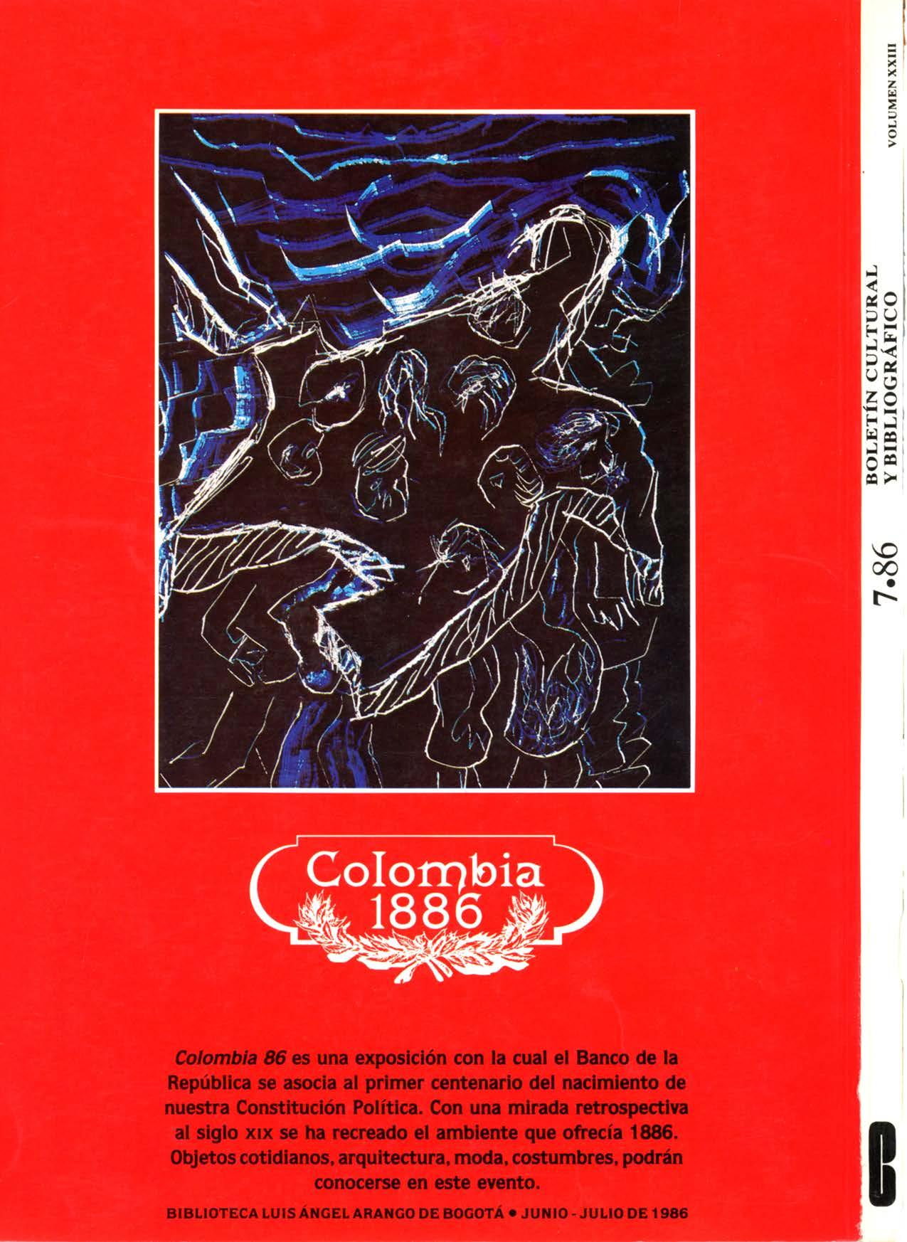 Cardoso. María Fernanda. Contraportada. Boletín Cultural y Bibliográfico XXIII. no. 7. 1986